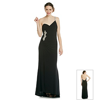 Morgan and Co.® Juniors' Black Long Slim Gown