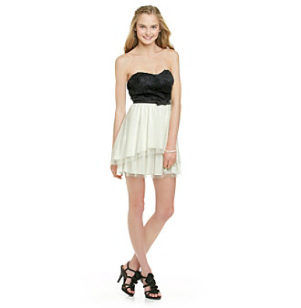 A. Byer Juniors' Ivory Strapless Party Dress