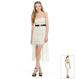 City Triangles® Juniors' Ivory Strapless Gown