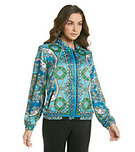 NY Collection Bomber Jacket with Placement Print Allover