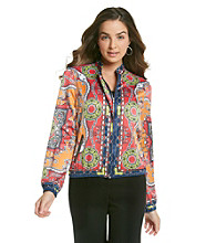 NY Collection Bomber Jacket with Allover Placement Print