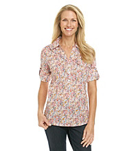 Cathy Daniels® Floral Button Y-Neck Shirt with Epaulets