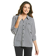 Notations® Striped Button-Front Roll-Sleeves Blouse
