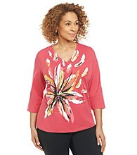 Breckenridge® Plus Size Flower Surplice Knit Tee