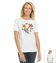 Breckenridge® Floral and Sequins Crewneck Tee