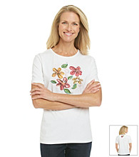 Breckenridge® Petites' Flower and Sequins Crewneck Tee