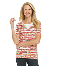Breckenridge® V-neck Layered-Look Knit Tee