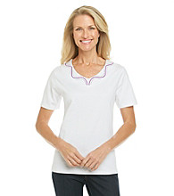 Breckenridge Classic White Short Sleeve V-Neck Embellished Tee