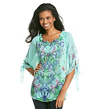 Oneworld® Tie-up Sheer Blouse