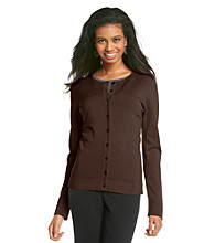 August Silk® Button-front CrewneckCardigan