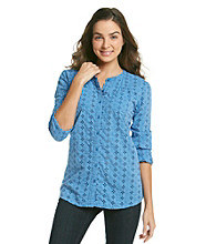 Ruff Hewn Roll Sleeve Eyelet Buttondown Shirt