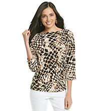 Laura Ashley® Animal Print Dolman Sleeve Top