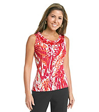 Laura Ashley® Petites' Wild Feather Sleeveless Top