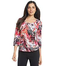 Laura Ashley® Abstract Palm Print Scoopneck Tee