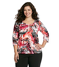Laura Ashley® Plus Size Abstract Palm Print Scoopneck Tee