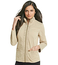 Laura Ashley® Khaki Ruched Lapel Jacket