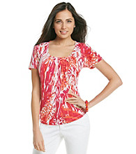 Laura Ashley® Wild Feather Pintuck Top