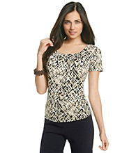 Laura Ashley® Basketweave Pintuck Top