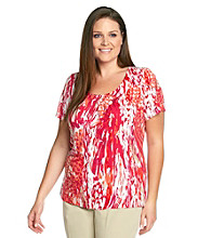 Laura Ashley® Plus Size Wild Feather Pintuck Top