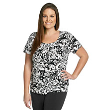 Laura Ashley® Plus Size Modern Print Pintuck Top