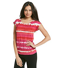 Laura Ashley® Petites' Watercolor Stripe Dolman Sleeve Top