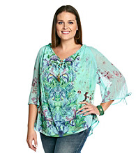 Oneworld® Plus Size Printed Peasant Woven Top