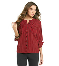 Notations® Petites' Striped Button Front Blouse