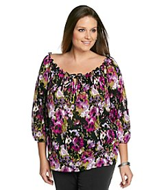 AGB® Plus Size Peasant Top
