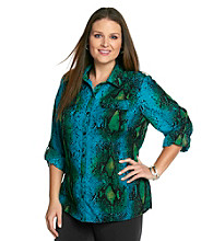 Notations® Plus Size Printed Buttonfront Shirt