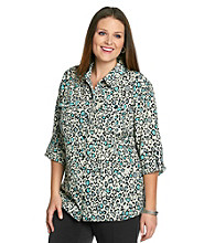 Notations® Plus Size Printed Roll-Tab Shirt