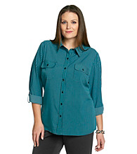 Notations® Plus Size Striped Roll-Tab Shirt