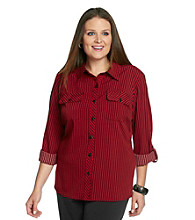 Notations® Plus Size Striped Buttonfront Blouse
