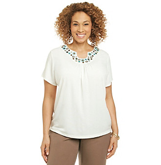 Alfred Dunner® Plus Size Beaded Neck Top