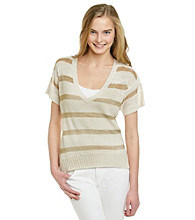 XOXO® Juniors' Metallic Stripe Sweater