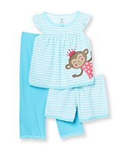 Carter's® Girls' 12M-4T Turquoise Striped 3-pc. Monkey Pajama Set