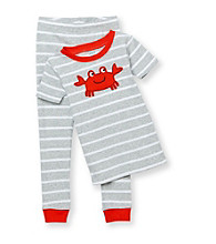 Carter's® Boys' 12M-4T Grey Striped 2-pc. Crab Pajama Set