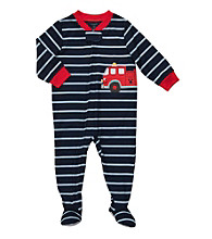 Carter's® Boys' 12M-4T Navy Striped Fire Truck Footie Pajamas