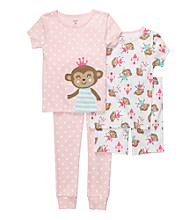 Carter's® Girls' 12M-4T Pink 4-pc. Polka Dot Monkey Pajama Set