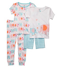 Carter's® Girls' 12M-4T White 4-pc. Elephant Pajama Set