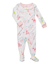 Carter's® Baby Girls' White/Pink Unicorn Print Footie Pajamas