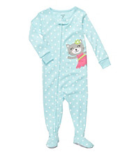 Carter's® Baby Girls' Blue Polka Dot Kitty Footie Pajamas