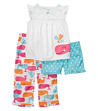 Carter's® Girls' 4-6X White 3-pc. Whale Print Pajama Set