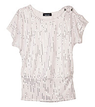 Amy Byer Girls' 7-16 White Sequin Top