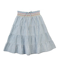 Amy Byer Girls' 7-16 Blue Chambray Tiered Skirt
