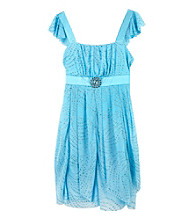 Amy Byer Girls' 7-16 Blue Flutter Sleeve Tiered Sparkle Dress