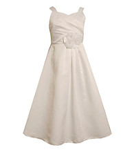 Bonnie Jean® Girls' 7-16 White Crossover Bodice Taffeta Dress