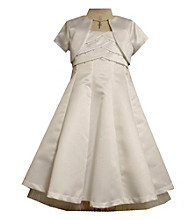 Bonnie Jean® Girls' 7-16 White Pleated Cross Closure Dress with Jacket