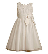 Bonnie Jean® Girls' 7-16 White Flower Applique Bodice Dress