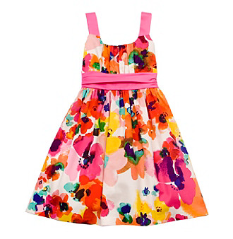 Rare Editions® Girls' 7-16 Pink Floral Pleated Watercolor Dress