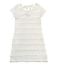 Rare Editions® Girls' 7-16 White Lace Eyelash Ribbon Dress
